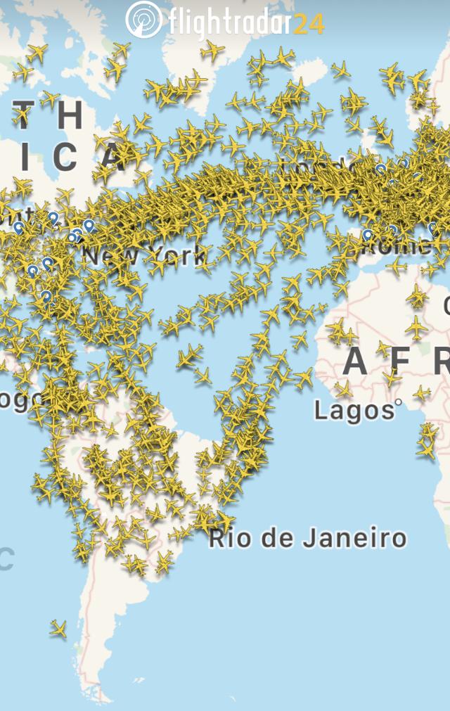 Radar Image Of Aircraft Over The Atlantic OCean